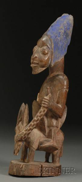 African Carved Wood Equestrian Figure