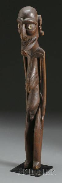 Polynesian Carved Wood Male Figure