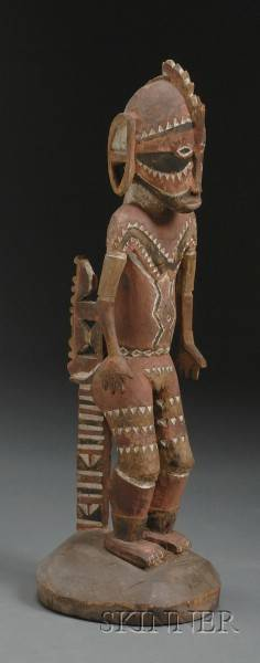 Melanesian Polychrome Carved Wood Female Figure