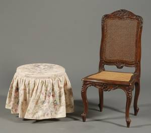 Louis XV Style Carved Walnut and Caned Side Chair and Associated Stool