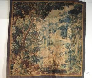 Flemish Verdure Wool Tapestry Panel Fragment