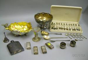 Group of Silver Plated Table Items and Two Sets of Sterling Silver Spoons