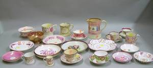 Twentynine Pieces of Assorted English Pink Lustre Tea and Tableware