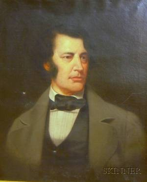 Framed American School Oil on Canvas Portrait of a Gentleman Purported to be Charles Sumner