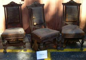 Set of Six Victorian Northwind Leather Upholstered Carved and Turned Oak Side Chairs