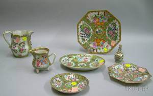 Seven Pieces of Chinese Export Porcelain Rose Canton and Rose Medallion Tableware