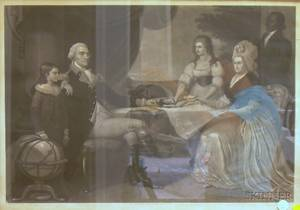 Framed Steel Engraving of the Washington Family