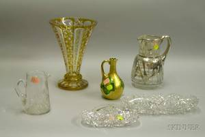 Six Assorted Art Glass Table Items