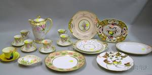 Elevenpiece Noritake Floral Decorated Porcelain Chocolate Set and Nine Pieces of Assorted Mostly Porcelain Tableware