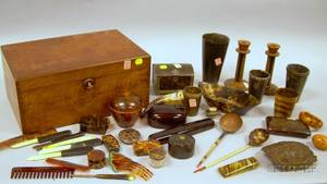 Walnut Lidded Box Containing an Assortment of Small Tortoiseshell and Horn Objects