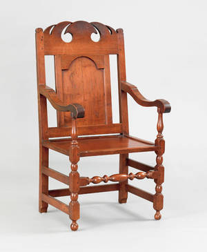 Important Lewis family Chester County Pennsylvania walnut wainscot armchair ca 1720