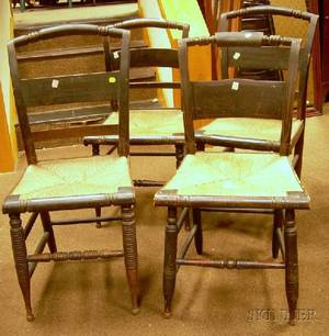 Four Painted and Stencildecorated Fancy Side Chairs with Woven Rush Seats