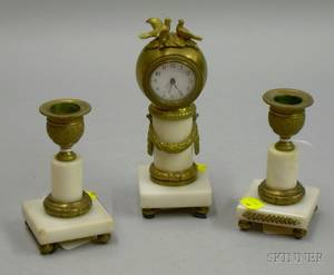 Miniature French Mantel Clock and Garniture