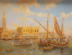 Framed Oil on Canvasboard View of the Grand Canal Venice