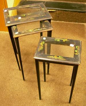 Nest of Three Glassinset Chinoiserie Decorated Wooden Stands