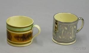 Childs Seaweed Decorated Mochaware Mug and an English Silver Lustreware Mug