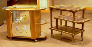 Grainpainted Wooden Beverage Cart and a French Art Deco Revolving Mirrored Liquor Cabinet