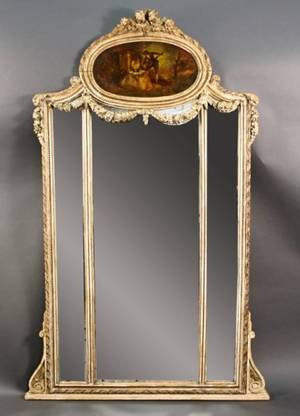 French Carved  Cream Painted Trumeau Mirror