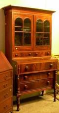 Empire Glazed Mahogany and Mahogany Veneer Twopart Writing DeskBookcase