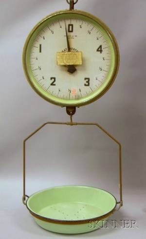 Great Western Kitchen Green Enameled Metal Doublesided Hanging Pan Scale