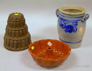 Tiered Tin Food Mold a Redware Food Mold and a Cobalt Floral Decorated Stoneware Jar