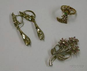 Pair of White Metal and Paste Earpendants a Sterling Silver and Marcasite Brooch and a Gilt Silver and Gemsto