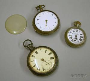 Two 18th19th Century English Sterling Silver Open Face Keywind Pocket Watches