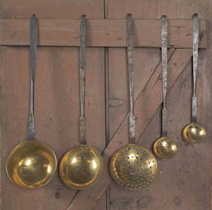 Set of three wrought iron and brass utensils early 19th c