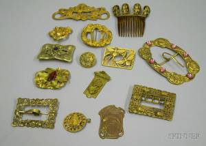 Group of Art Nouveau Gilt Metal Accessories and Jewelry