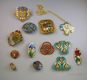 Group of Art Nouveau and Later Cloisonne Jewelry