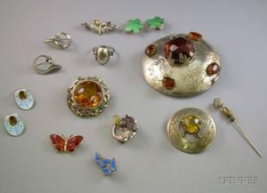 Group of Scandinavian Silver Jewelry a Group of Scottish Silver Jewelry and a 14kt Gold and Diamond Stickpin