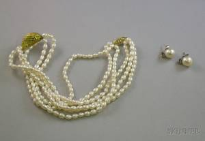 Freshwater Pearl and Gold Necklace and a Pair of Pearl and Diamond Stud Earrings