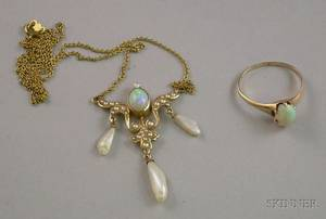 14kt Gold Art Nouveau Opal and Freshwater Pearl Necklace and an English Gold and Opal Ring