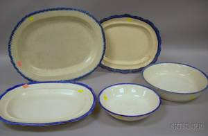 Three Leeds Blue Featheredge Platters a Basin and a Bowl