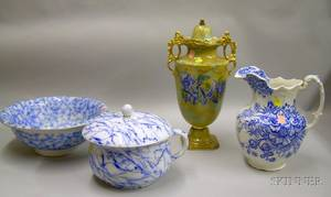 English Gilt Flow Blue Covered Urn a Flow Blue Marble Pattern Chamber Pot and Basin and a Blue and White Transfer Pitcher