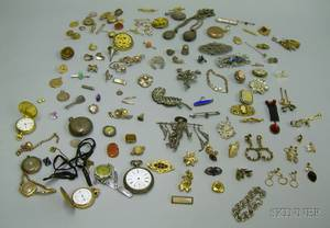 Large Assortment of Victorian and Later Gold Goldfilled and Sterling Silver Jewelry Watches and Findings