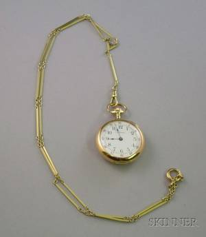 14kt Gold and Diamond Waltham Sapphire Open Face Pocket Watch with 14kt Gold Chain