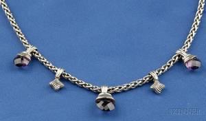 Sterling Silver 14kt Gold and Gemset Necklace David Yurman