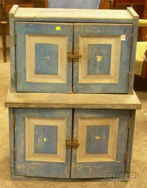 Childs Blue and Graypainted Wooden Paneled Stepback Cupboard