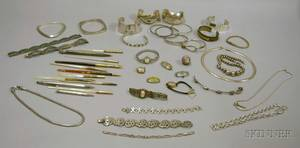 Lot of Assorted Silver Bracelets and Necklaces a Group of Quill Pens and Mechanical Pencils and a Group of Se