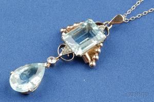 Retro 14kt Gold Aquamarine and Diamond Pendant