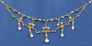 Art Nouveau 14kt Gold Sapphire and Freshwater Pearl Necklace
