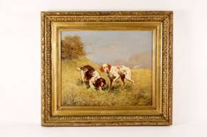 Eugene Petit French 19th C Dog Oil on Canvas
