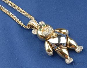 18kt Bicolor Gold and Diamond Teddy Pendant Necklace