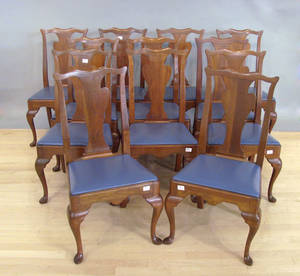 Set of twelve Queen Anne style dining chairs