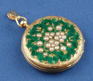 Antique 14kt Gold Enamel and Seed Pearl Pocket Watch