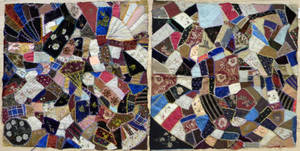 Two crazy quilt fragments
