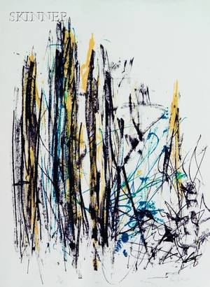Joan Mitchell American 19251992 Arbres Black Yellow and Blue