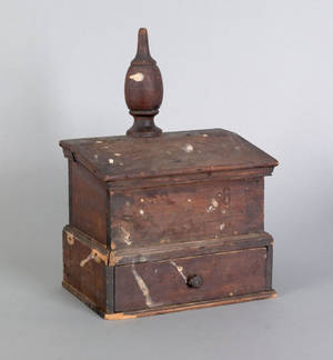 Pennsylvania poplar and walnut hanging wall box ca 1800