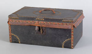 Leather and tack covered lock box 19th c